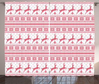 Winter Time Reindeers Curtain