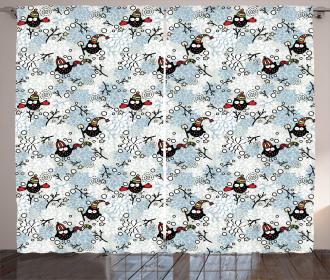 Winter Snow Xmas Doodle Curtain