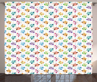 Cute Characters and Dots Curtain