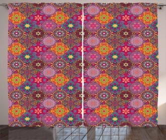 Vibrant Artistic Folk Curtain