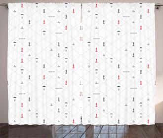 Diamond Motif Icons Curtain