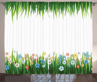 Grass and Flowers Curtain