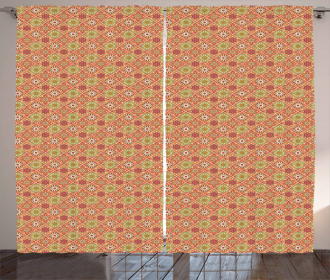 Checkered Blooms Henna Curtain
