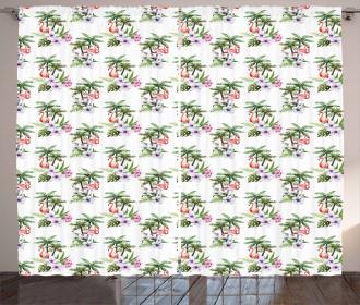Flamingo Hibiscus Art Curtain