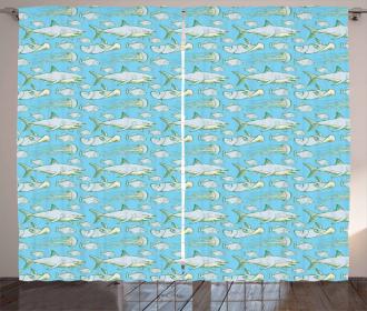 Vintage Sea Creatures Curtain