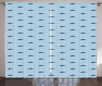 Ocean Life in Blue Shades Curtain