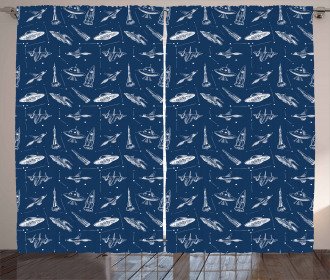 Sketch Style Aircraft Curtain