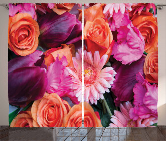 Gerberas Tulips Roses Curtain