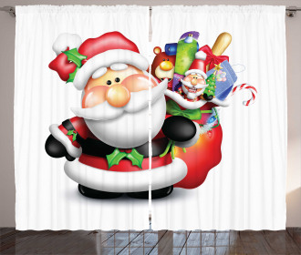 Whimsical Father Xmas Curtain