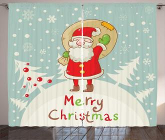 Merry Xmas Snowy Forest Curtain