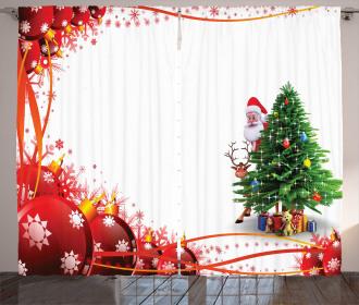 Red Balls Festive Tree Curtain