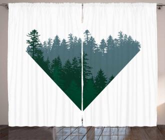 Coniferous Tree Design Curtain