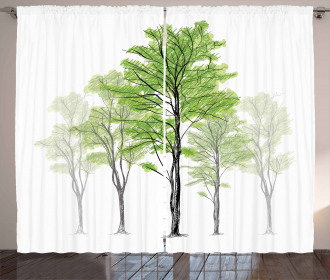 Hand Drawn Nature Motif Curtain