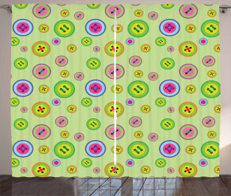 Abstract Button Pattern Curtain