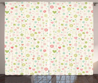Romantic Blooming Flowers Curtain