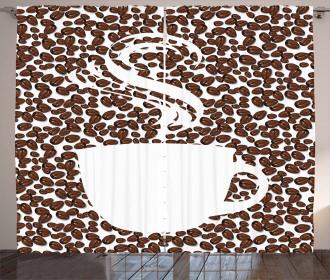 Hot Cup on Arabica Beans Curtain
