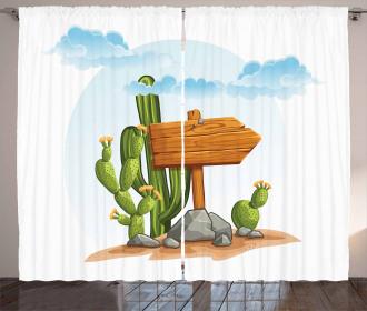 Cartoon Desert Flora Curtain