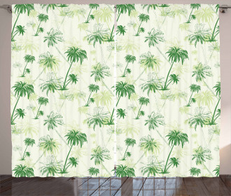 Sketch Style Palm Trees Curtain