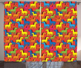Cartoon Stallion Farm Curtain