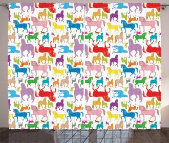 Abstract Stallions Wild Curtain