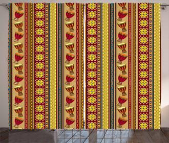 Djembe Drums Geometric Curtain