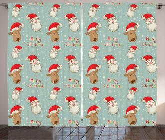 Santa Deer Vintage Curtain