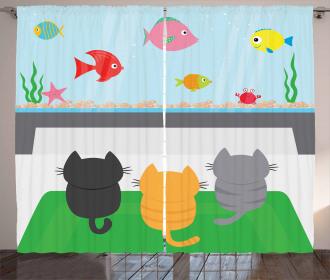 Cats Looking at Fish Tank Curtain
