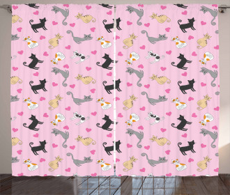 Colorful Different Cats Curtain