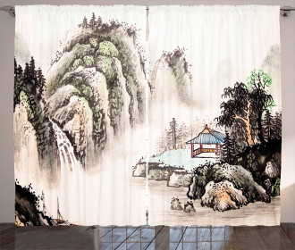 Watercolor Valley Curtain