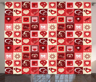 Valentines Day Theme Hearts Curtain