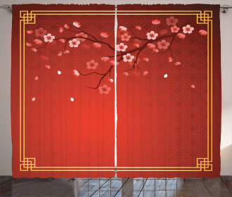 Cherry Branch Chinese Frame Curtain