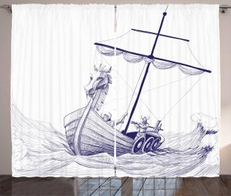 Drakkar Long Boat Dragon Curtain
