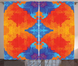 Blue Orange Kaleidoscope Curtain