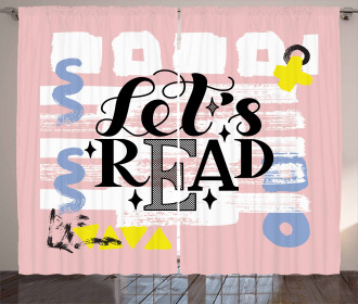 Let's Read Phrase Pastel Curtain