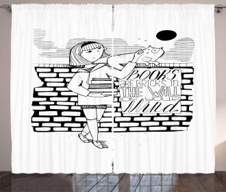 Books are Bricks in Wall Curtain