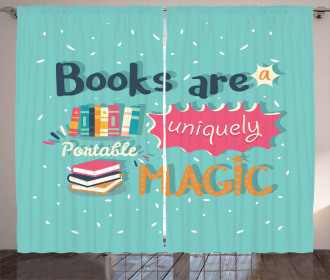 Books are Magic Pale Color Curtain