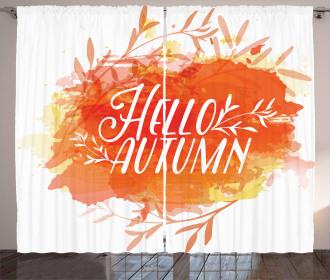 Autumn Watercolor Art Curtain