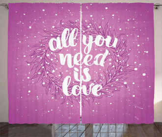 Valentines Floral Quote Curtain