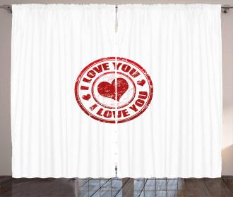 Grunge Stamp Pattern Retro Curtain