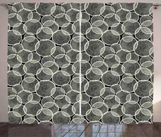 Monochrome Trunk Circles Curtain