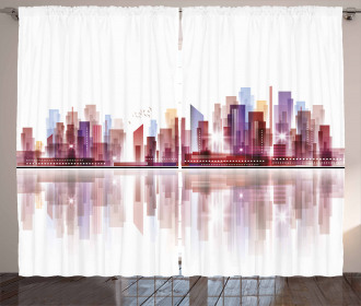 Skyscrapers Silhouette Curtain