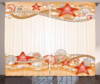 Sand Seashells Ropes Curtain