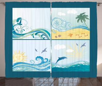 Maritime Themed Waves Curtain