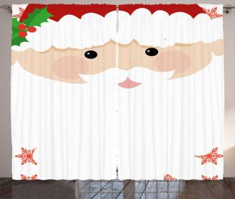 Cartoon Face Santa Curtain