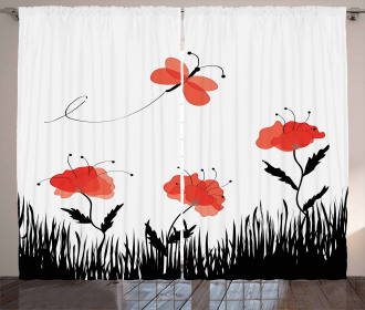 Abstract Pastoral Field Curtain