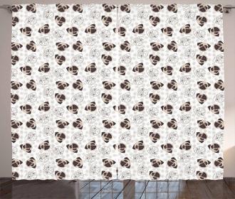 Pug Portraits Traces Curtain