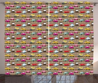 Retro Vehicles on Highway Curtain
