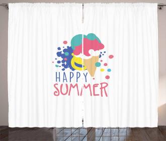 Ice Cream Doodle Curtain