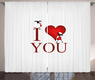 Sheep and Red Heart Curtain