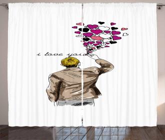 Man Writing Hearts Curtain